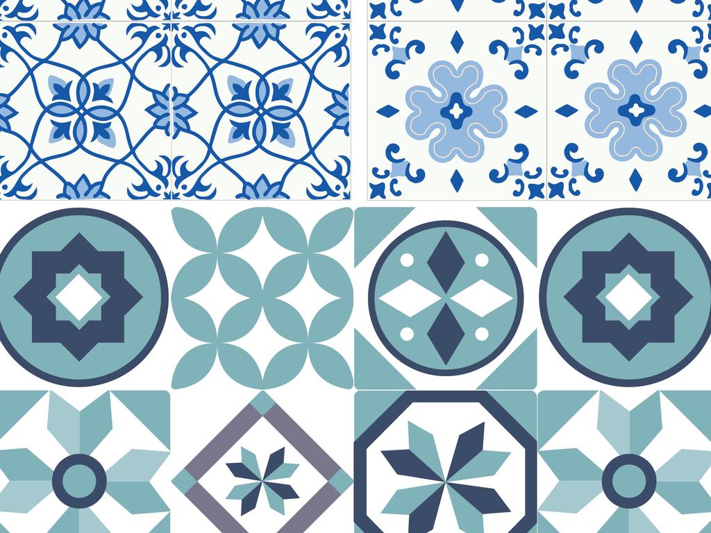 2018复古抽象几何图案花砖背景矢量素材图片