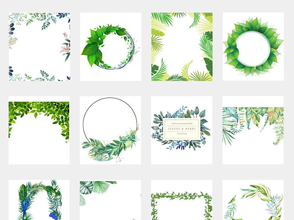 各种树叶简笔画水彩绿树叶矢量图树叶边框树叶纹理椰子树叶