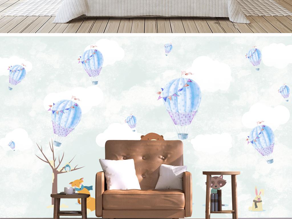 北欧小清新手绘儿童房卧室背景墙手绘北欧图片设计_(.