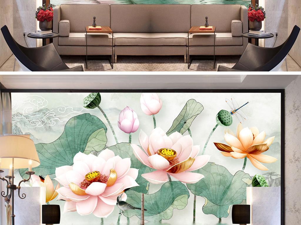 新中式中国风手绘工笔荷花简约禅意莲花壁画