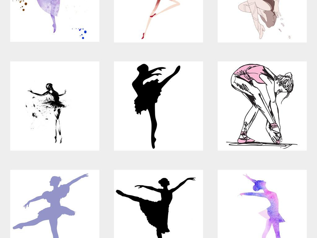 女孩跳芭蕾舞少儿芭蕾舞水彩素材
