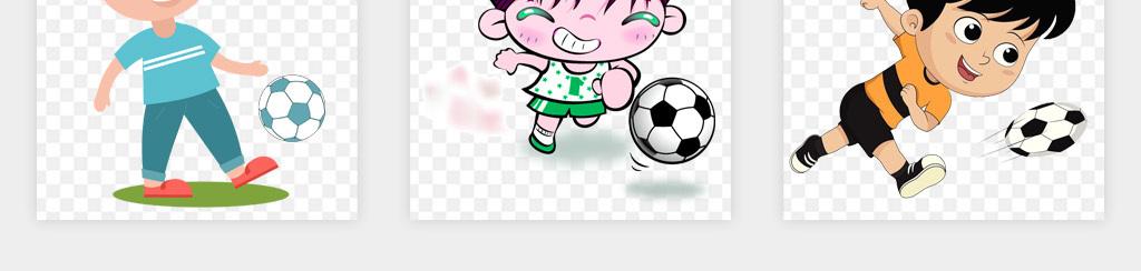 卡通手绘儿童小学生小孩踢足球体育运动png免扣素材