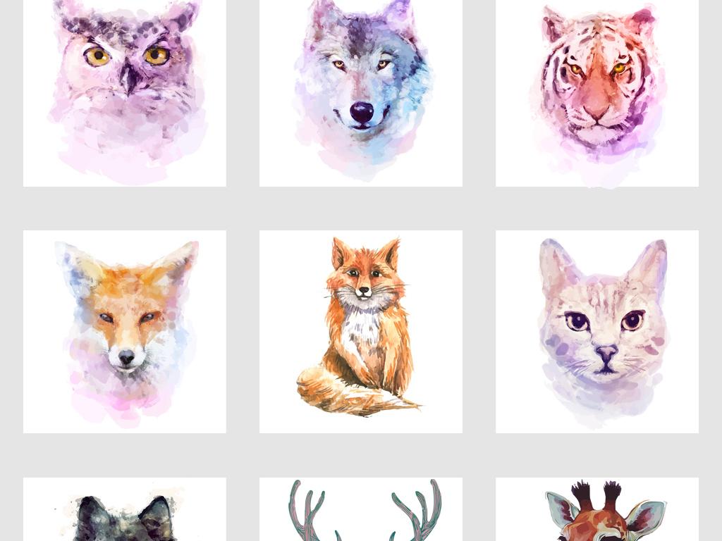 北欧手绘水彩卡通动物头像png免抠素材