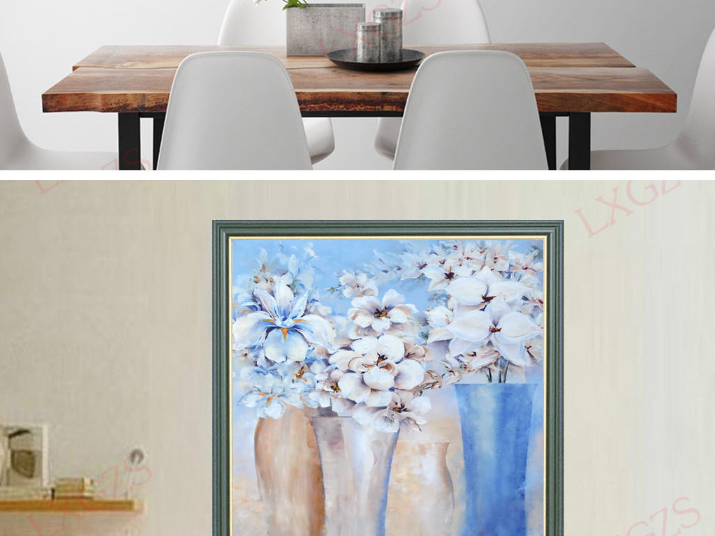 手绘唯美抽象花瓶装饰艺术油画
