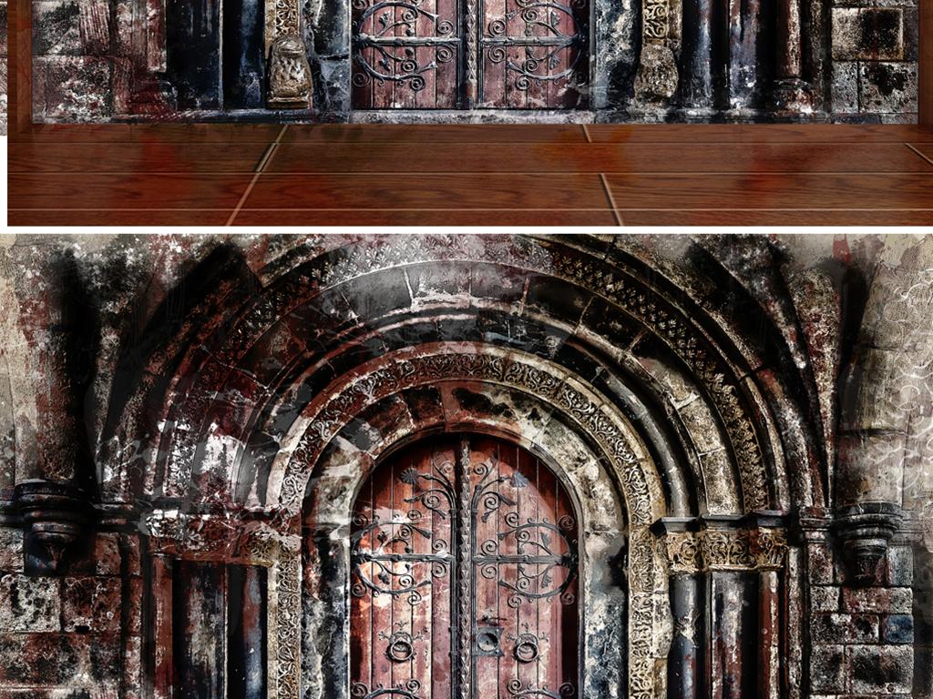 欧式手绘复古拱门