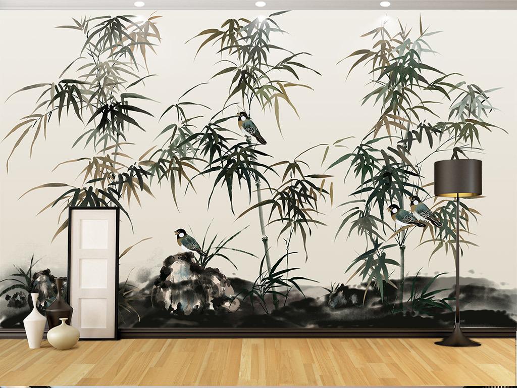 手绘水墨竹新中式背景墙装饰画