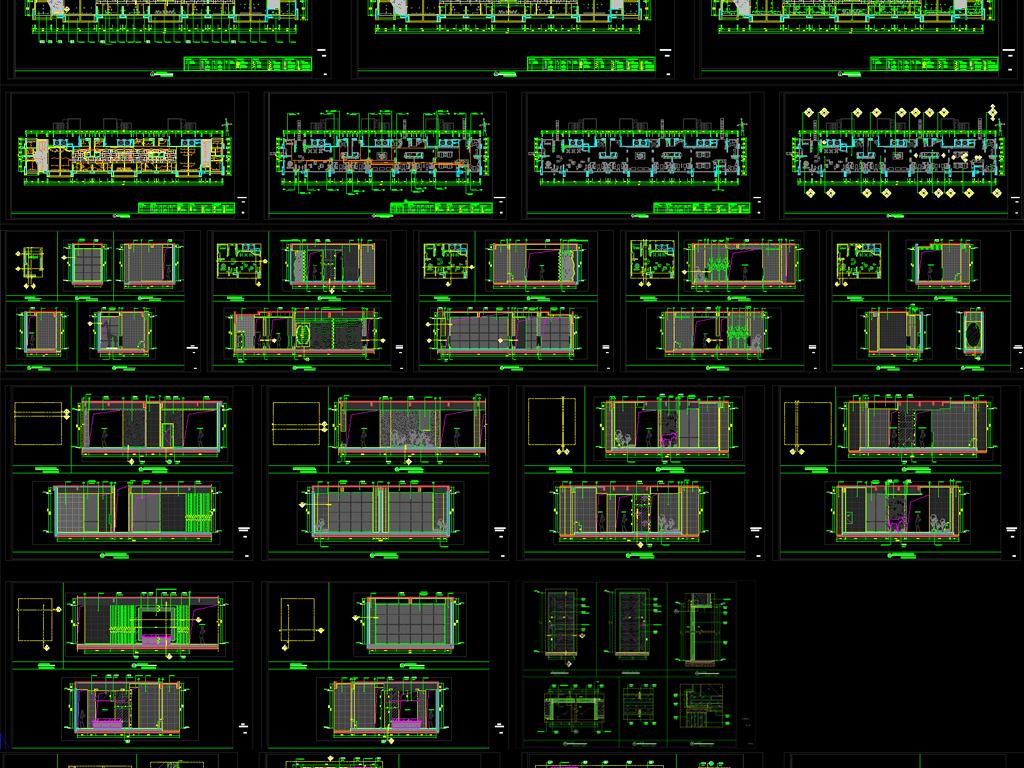 长方形多功能会所 销售中心设计施工图平面图下载(17.图片