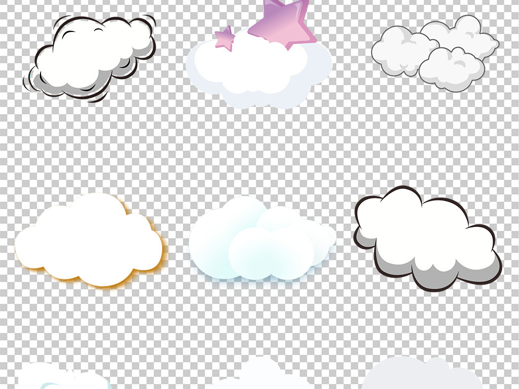 手绘卡通白色云朵海报png免扣素材