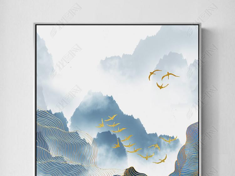飞鸟新中式水墨山水金线抽象装饰画背景墙