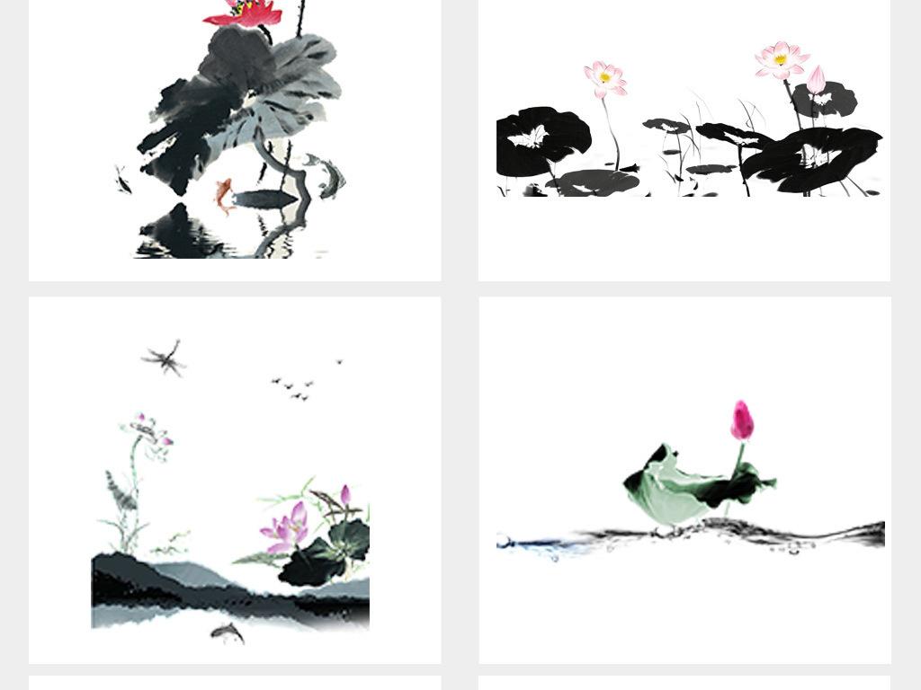 免抠元素 花纹边框 中国风边框 > 手绘水墨荷花荷叶图片背景png素材