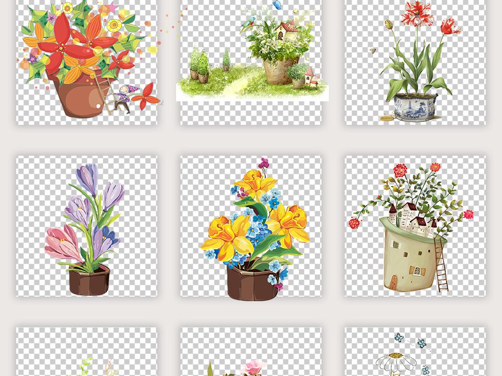 卡通浪漫手绘花朵唯美花瓶盆栽花盆挂篮子
