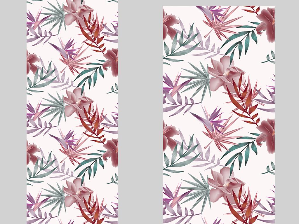 手绘植物矢量图案地毯