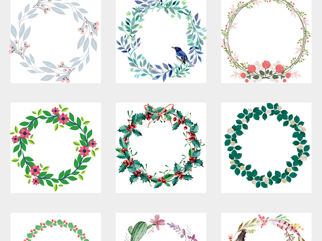 免扣元素 花纹边框 卡通手绘边框 > 50款水彩绿叶花环花纹春季夏季png