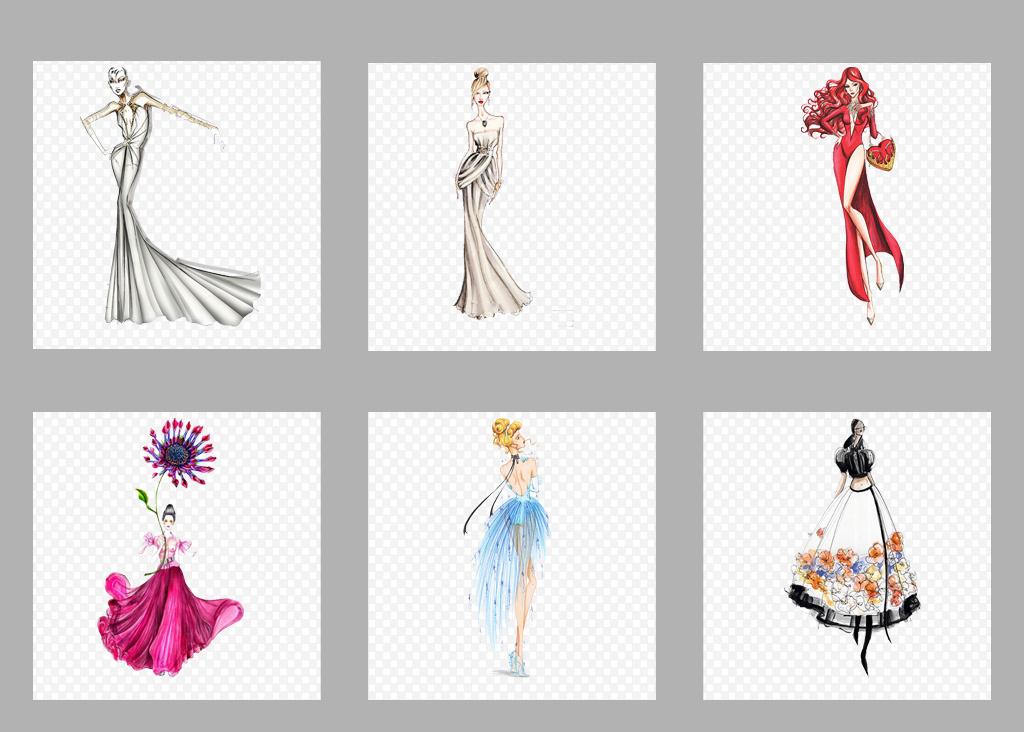免抠元素 人物形象 动漫人物 > 卡通手绘晚礼服模特png透明背景免扣素