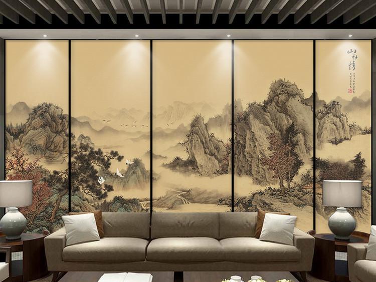 新中式意境抽象水墨山水情客厅背景墙壁画