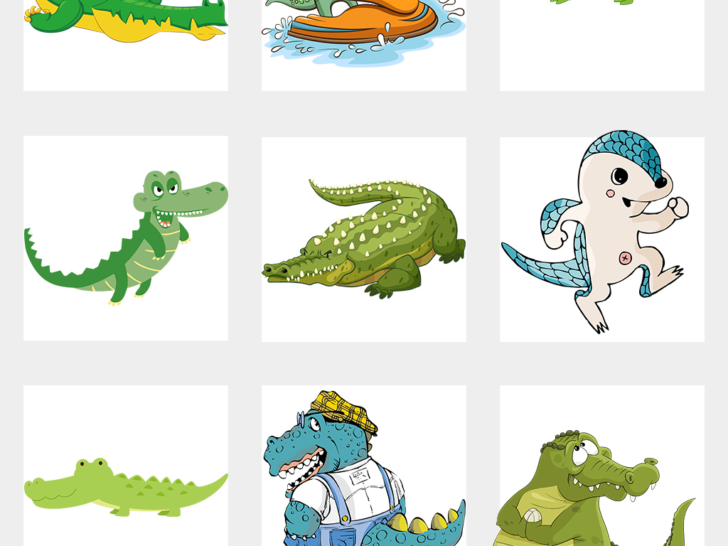 可爱卡通动物鳄鱼设计素材png图片