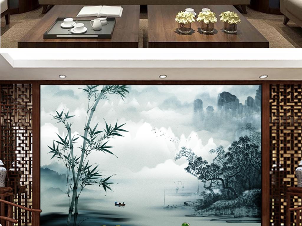 山水风景画 > 古风新中式竹韵山水情背景墙屏风壁画墙纸  素材图片