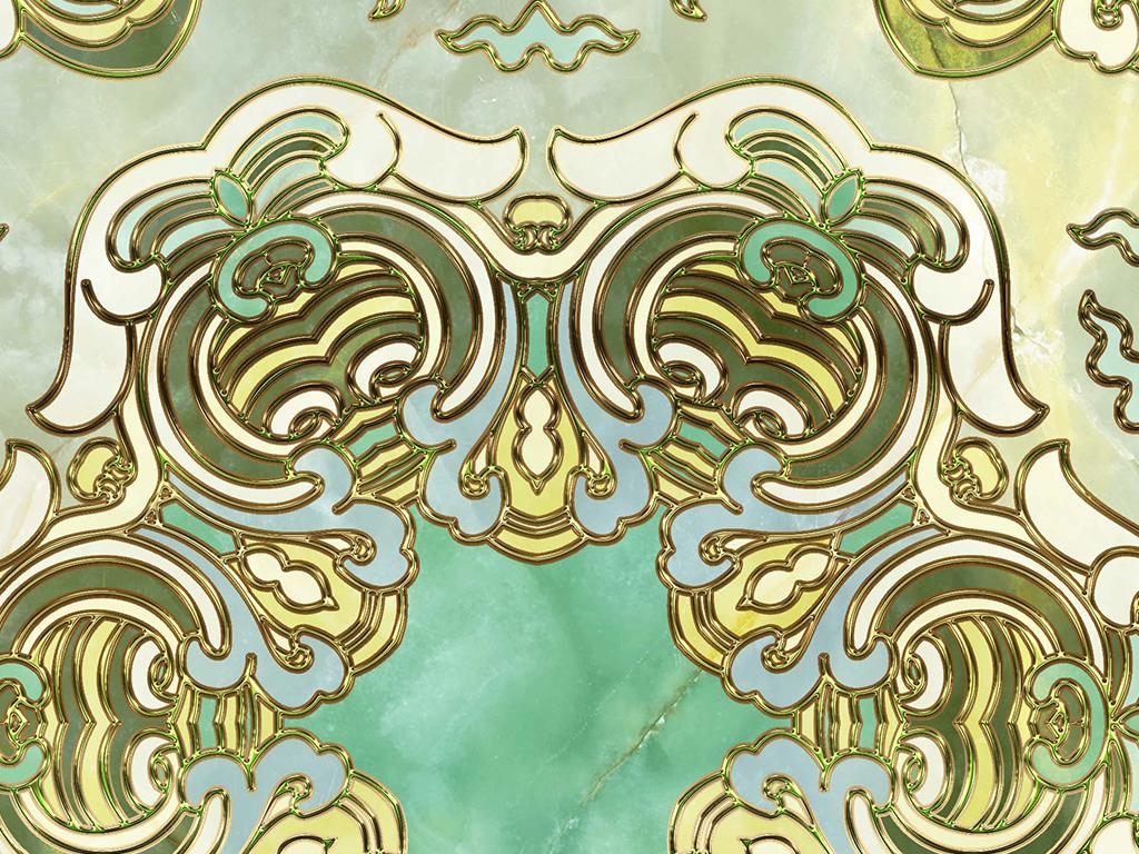 金色花纹欧式复古拼花地砖图片
