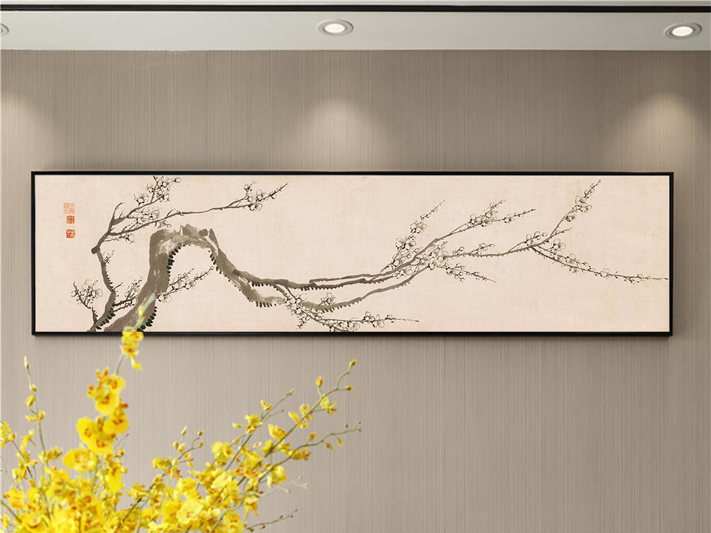 手绘梅花新中式现代简约素雅名俗古风装饰画