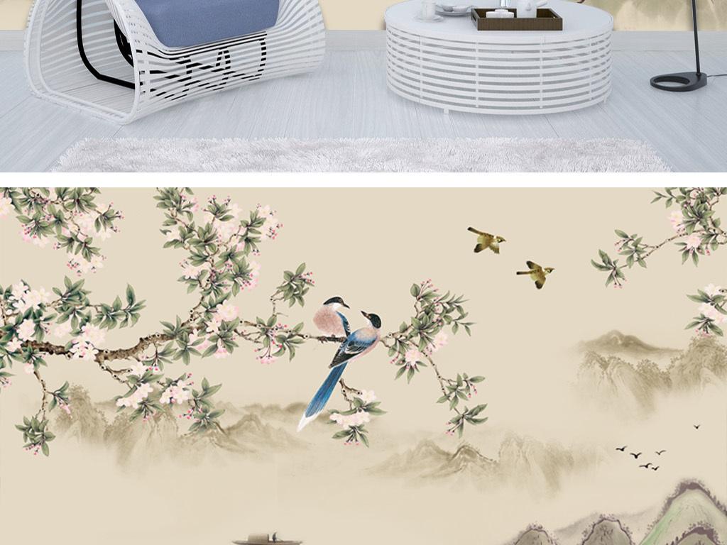 中式手绘花鸟山水电视背景墙装饰画