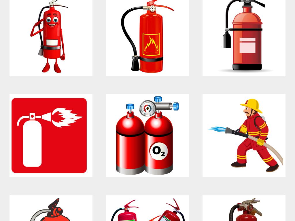 灭火器消防漫画小报海报设计PNG元素图片素材 模板下载 16.78MB 其他大全 背景