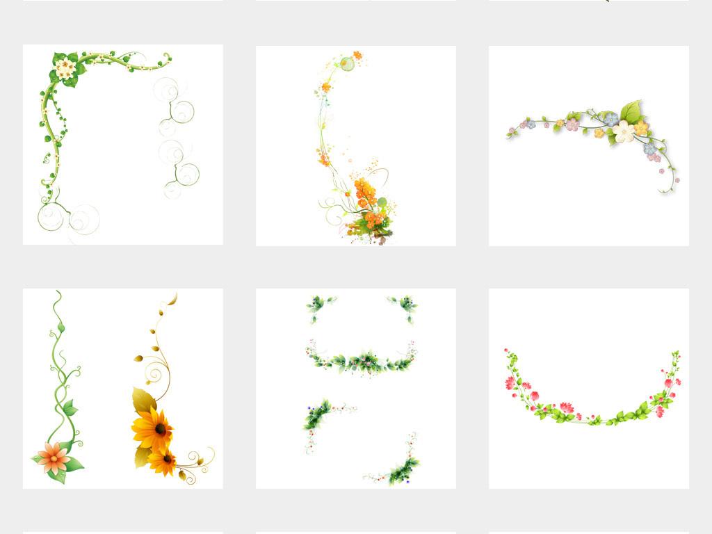 边框春天树叶绿色花边藤蔓树藤绿色树叶图片素材春天绿色树藤树叶藤条