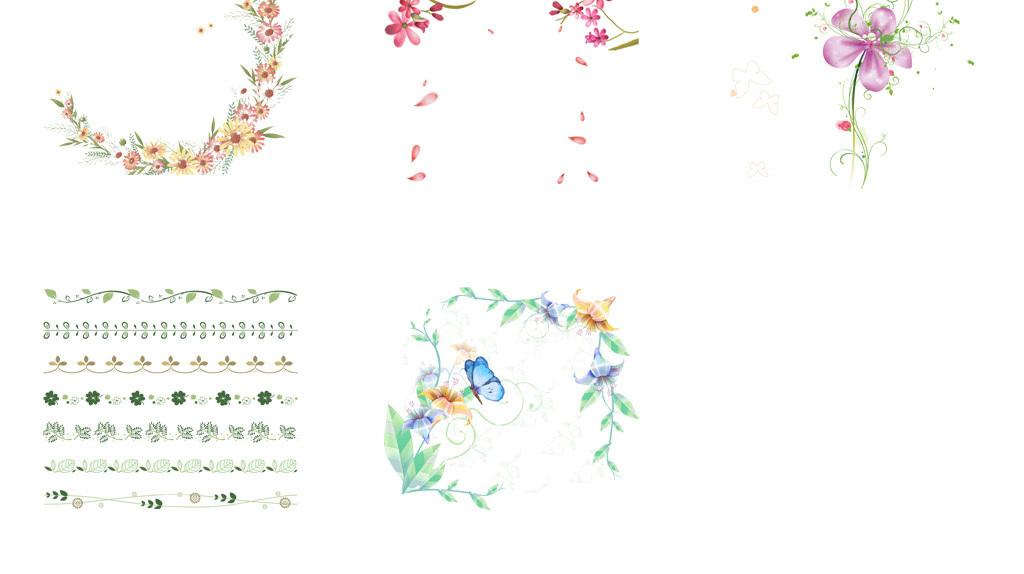 设计元素 花纹边框 卡通手绘边框 > 春天绿色树藤树叶花藤花边藤蔓