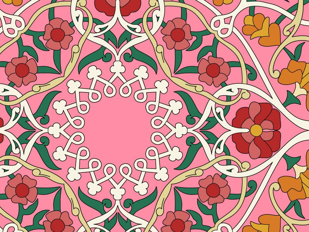 精致圆形花纹方形花纹客厅地砖奢华图案服装图案中国风