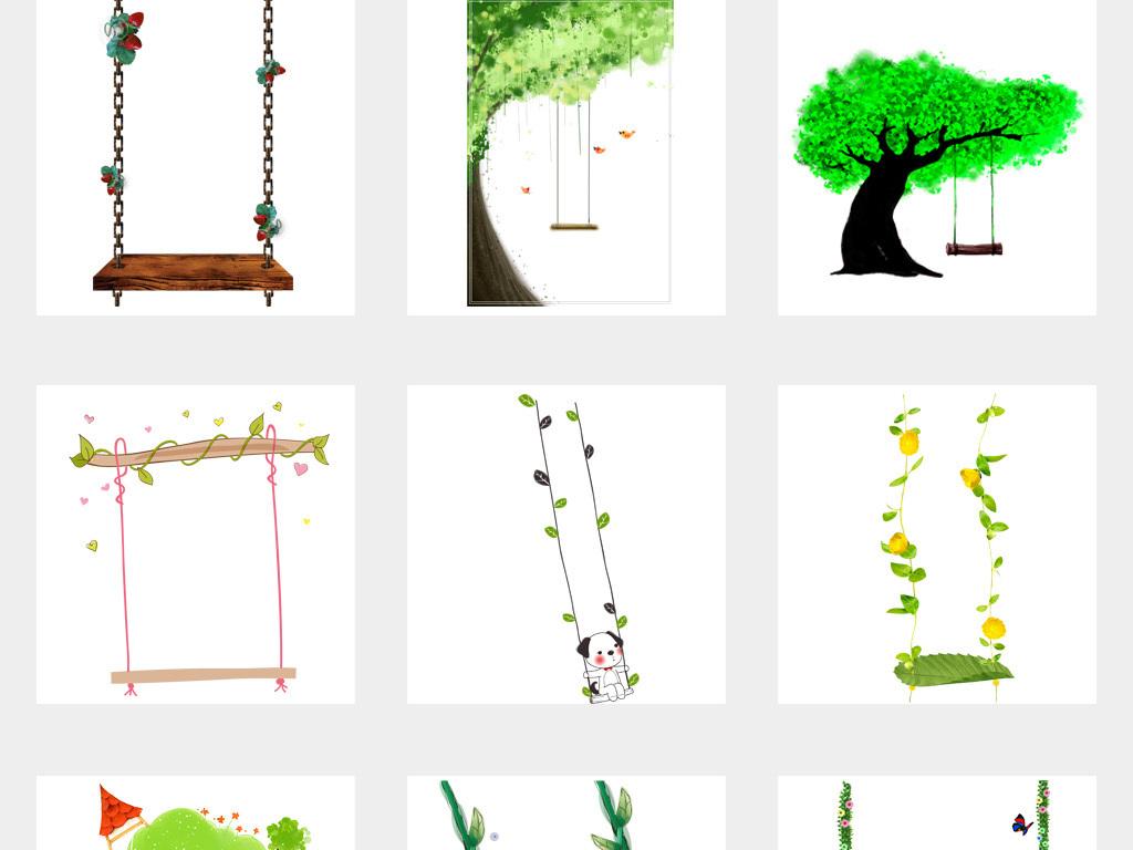 50款卡通手绘树藤花藤藤蔓秋千png透明背景免扣素材图片