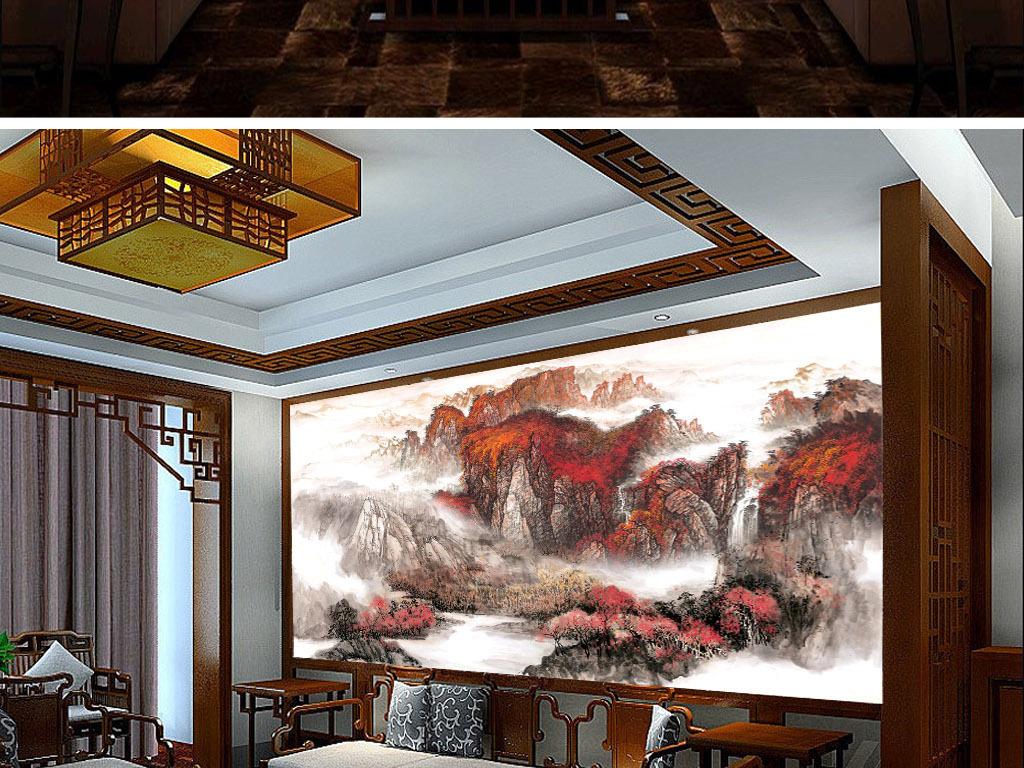 电视背景墙 中式电视背景墙 > 超大巨幅新版手绘中式聚宝盆风水工装