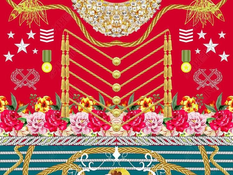 2018红绿服装花型数码印花图案