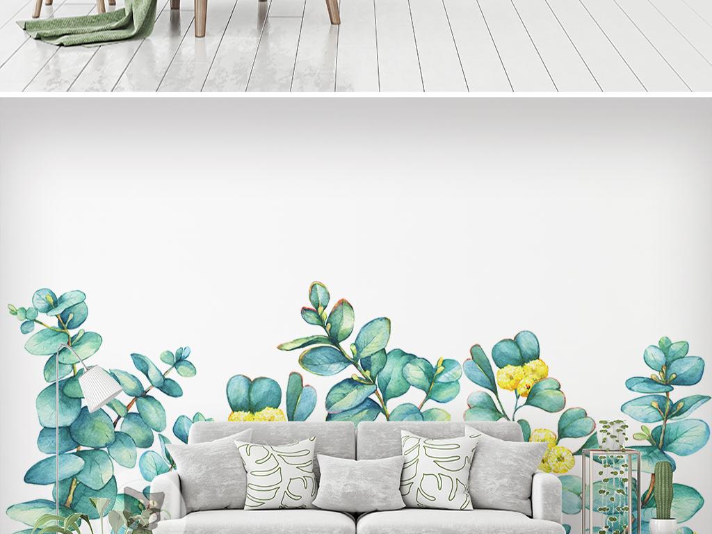 手绘唯美植物背景墙