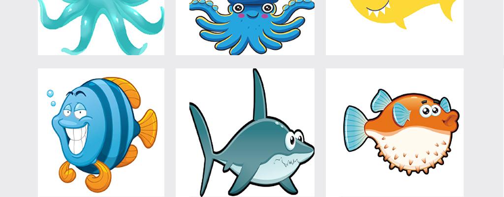 可爱卡通手绘鱼海洋生物png免扣素材