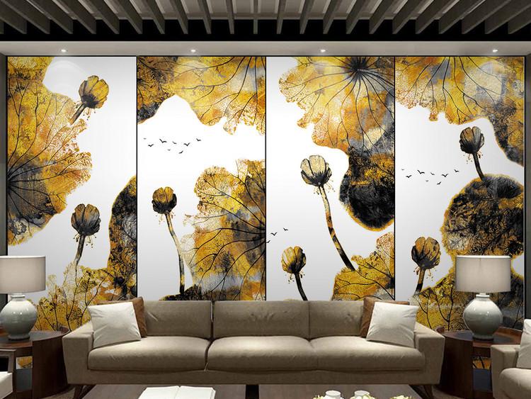 新中式水墨荷花金色装饰画电视沙发背景墙