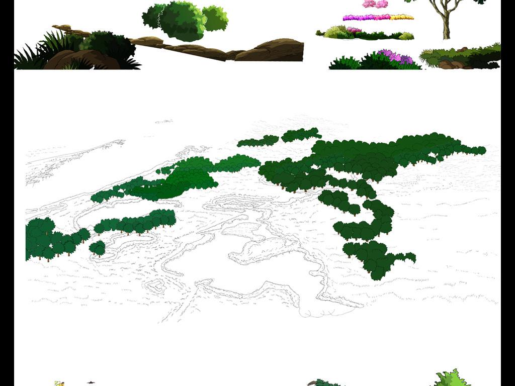 园林树木立面图