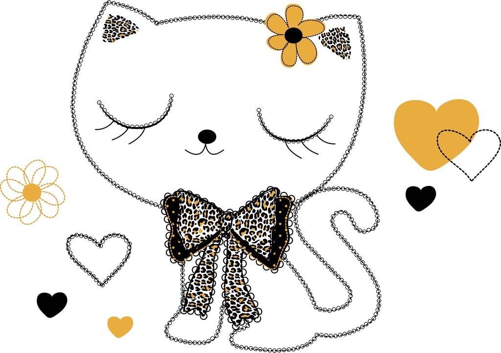 可爱卡通小猫t恤印花图片