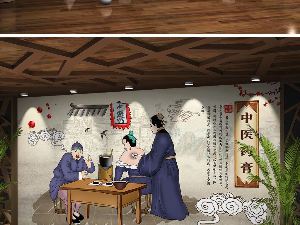 复古手绘传统中医馆膏药保健养生背景墙