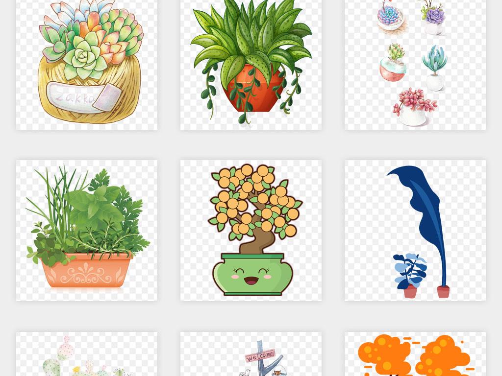 手绘绿色多肉盆栽植物花卉png免扣素材