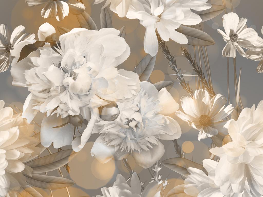 新款高清手绘黑白大花无缝数码