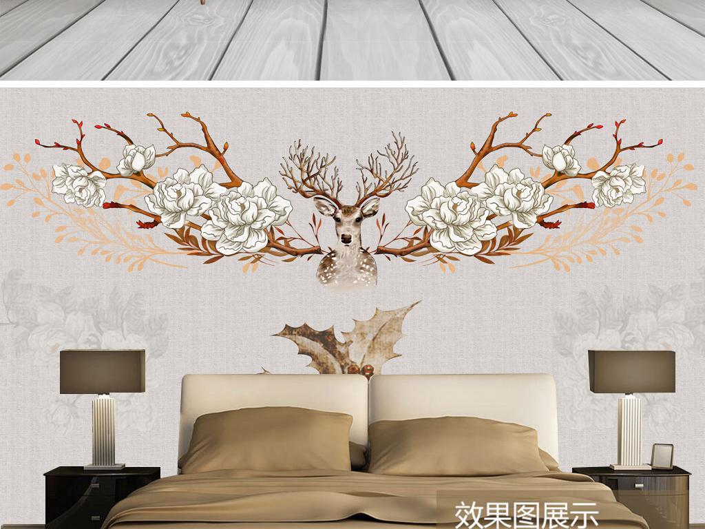 手绘复古欧式麋鹿典雅花卉客厅电视背景墙图片