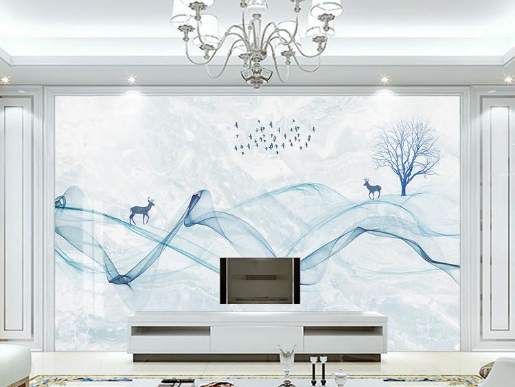 新中式抽象线条山水麋鹿大理石纹电视背景墙