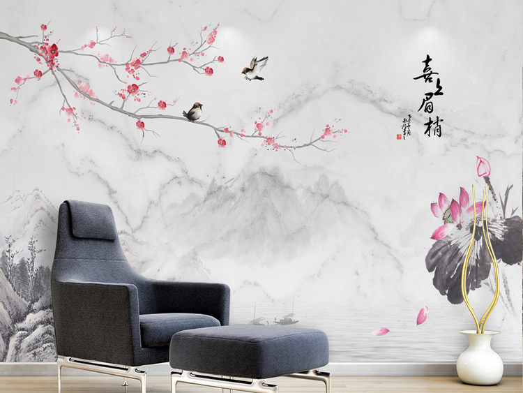 大理石纹中式梅花水墨荷花电视背景墙