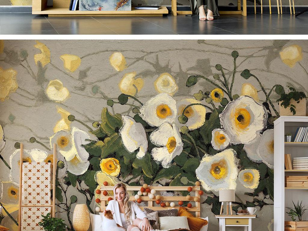 电视背景墙 手绘电视背景墙 > 木兰花背景墙白色花卉花枝树枝花卉油画