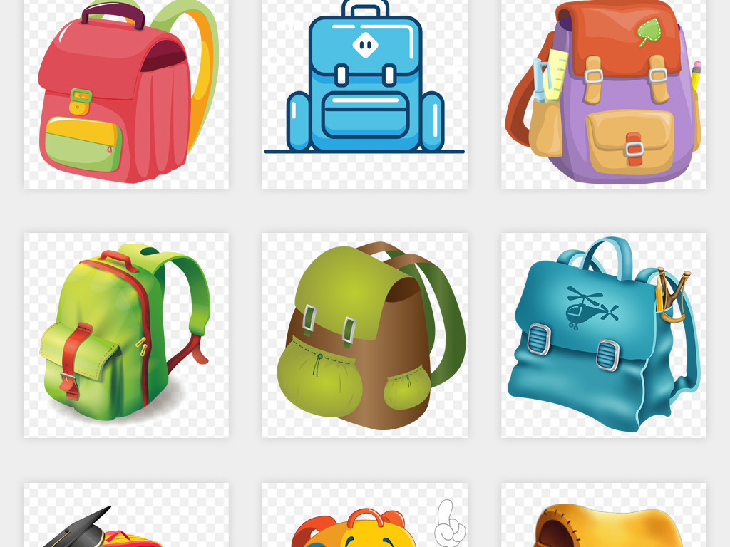 卡通手绘小学生儿童书包png免扣素材图片_模板下载(17