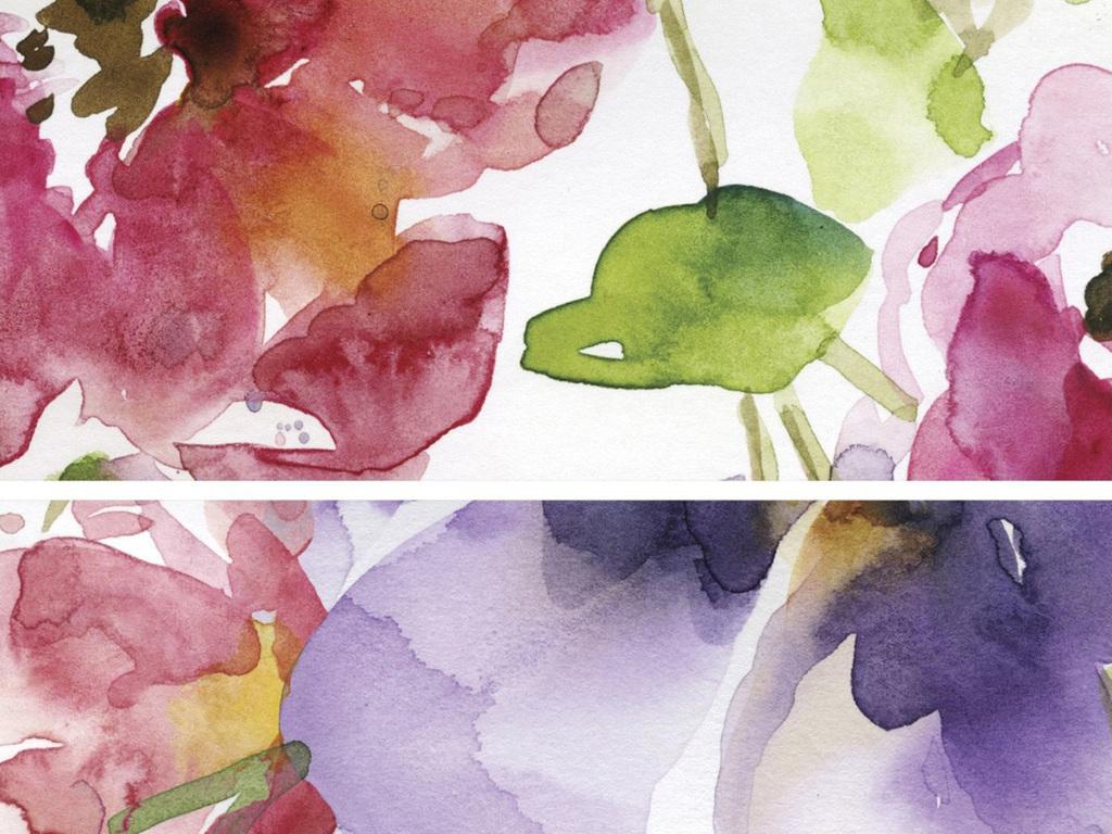 电视背景墙 手绘电视背景墙 > 水彩玫瑰花背景墙蔷薇五彩花卉花枝碎花