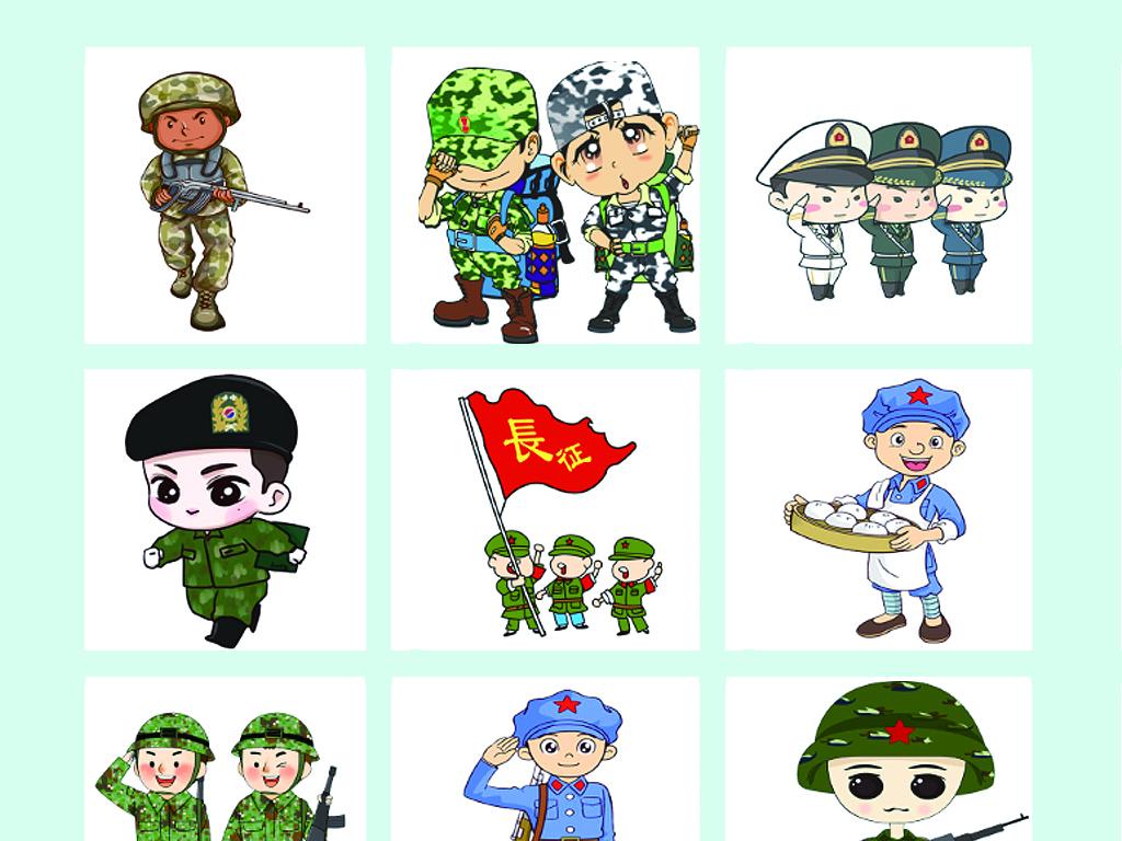 热血军魂强军之路国旗军事军人红军武警阅兵战士卡通军人卡通士兵卡图片