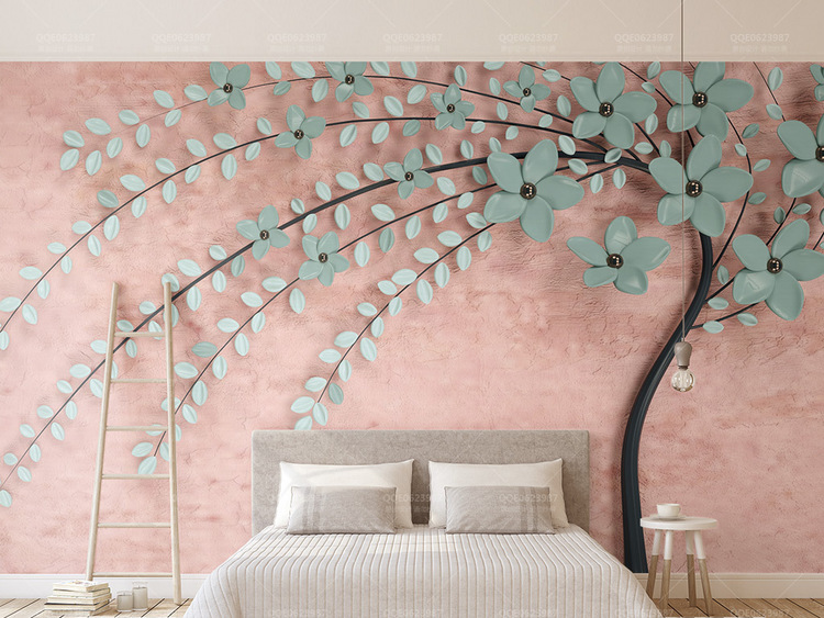 3d立体新款一棵树粉色北欧花朵电视背景墙