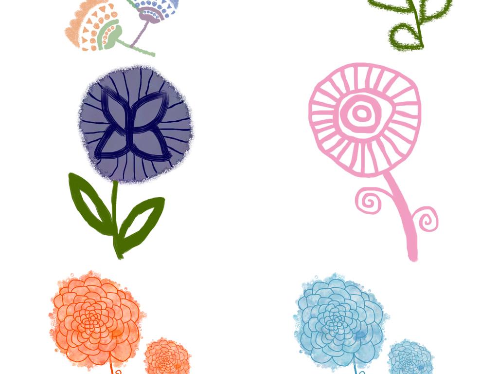 水彩手绘卡通花朵植物装饰图案