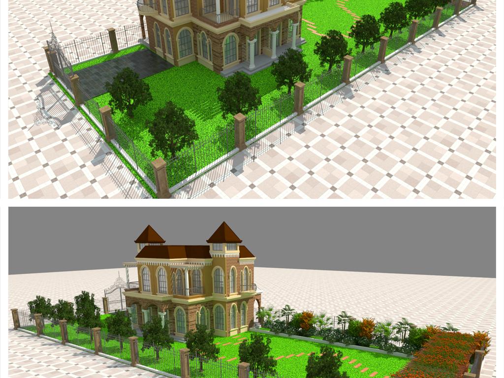 别墅小区庭院园林室外效果图设计图下载(图片347.91mb图片