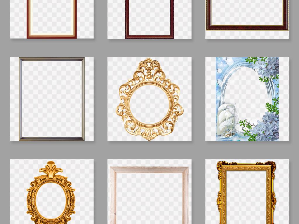 复古实木边框欧式相框png素材